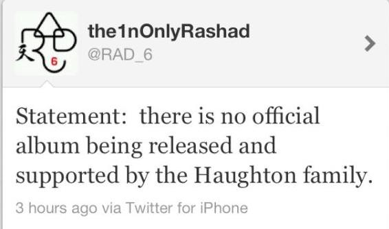 Rashad Tweet *Updated: Aaliyahs brother Rashad Refutes Claims of Upcoming Album, Releases Statement
